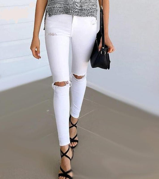 Ripped Denim High Waist Jeans