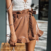 Cinched Belt Eyelet Shorts