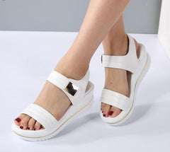 Platform heel Leather hook loop metal Wedge