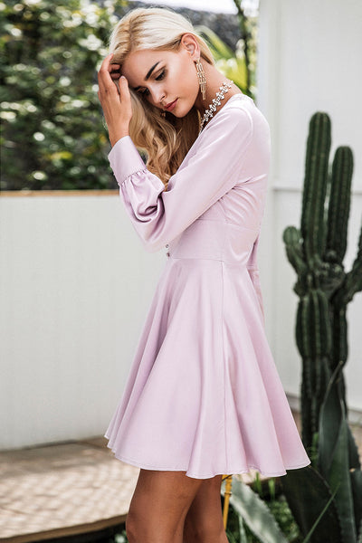Satin soft V neck dress