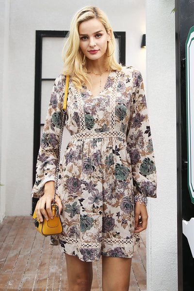 V neck floral print winter dress