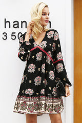 Floral chiffon lace hollow out dress