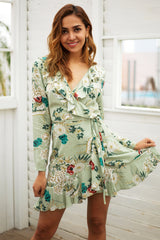 Ruffle print wrap dress