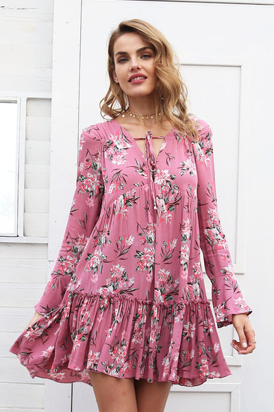 Lace up floral print dress