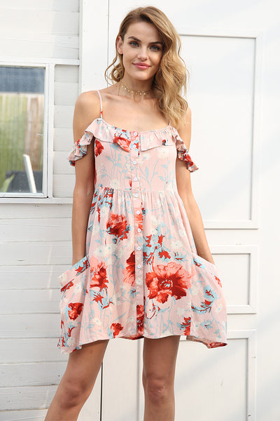 Off shoulder strap summer dress