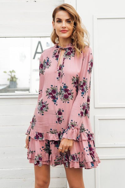 Loose long sleeve short dress
