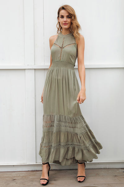 Backless tie up bow maxi dress