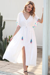Summer lace up tassel maxi dress