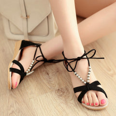 Flat Heel String Bead Wedges