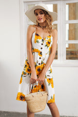 Sunflower print backless dress