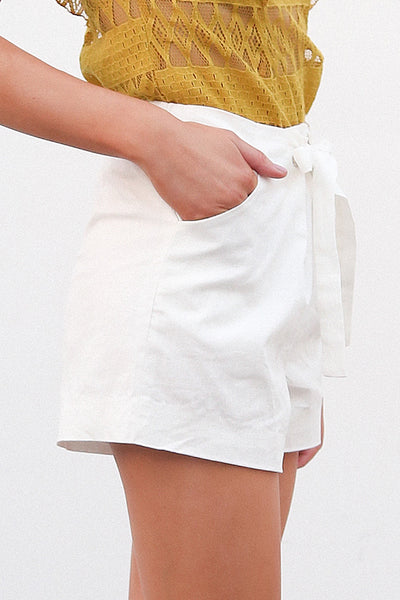 Tie Up Zipper Plaid Shorts