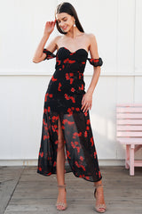 Floral print chiffon maxi dress
