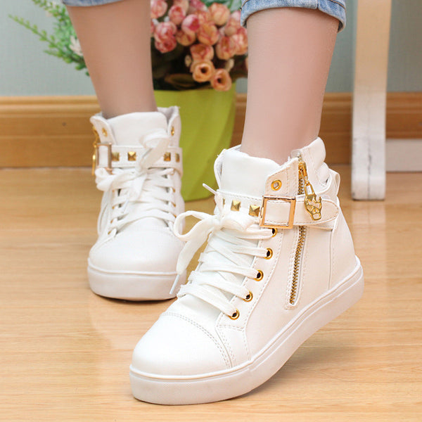 Zipper wedge white sneakers