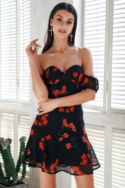 Strapless off shoulder summer dress