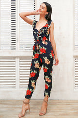 Cross v neck boho floral print jumpsuit