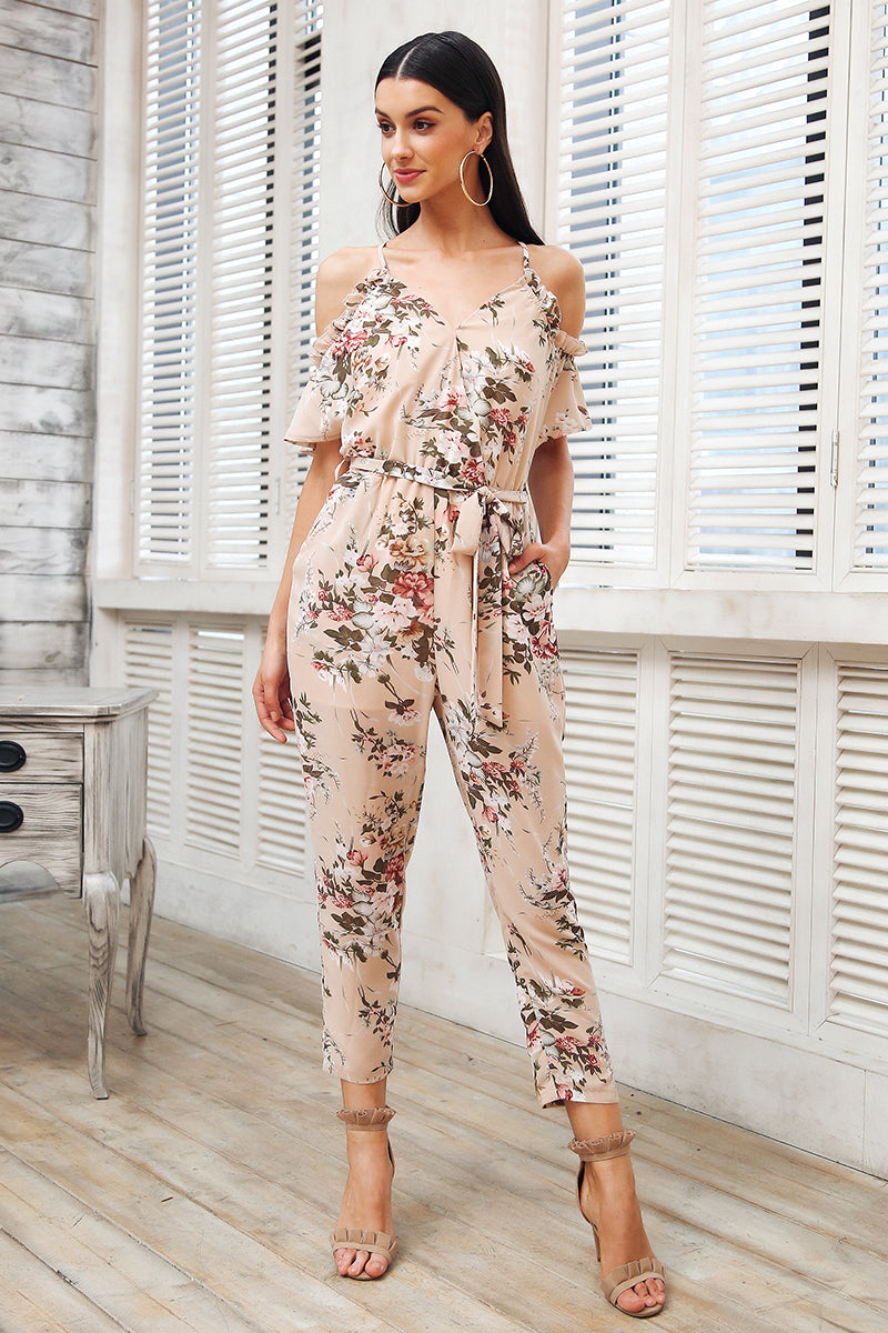 Boho floral print ruffle backless jumpsuit