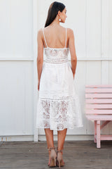 V neck button lace dress