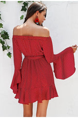 Off shoulder polka dot dress