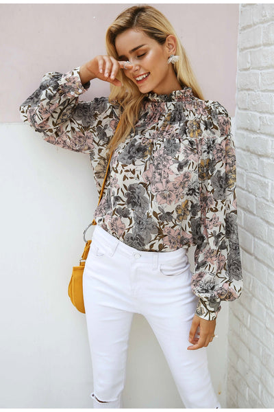 Floral print turtleneck blouse
