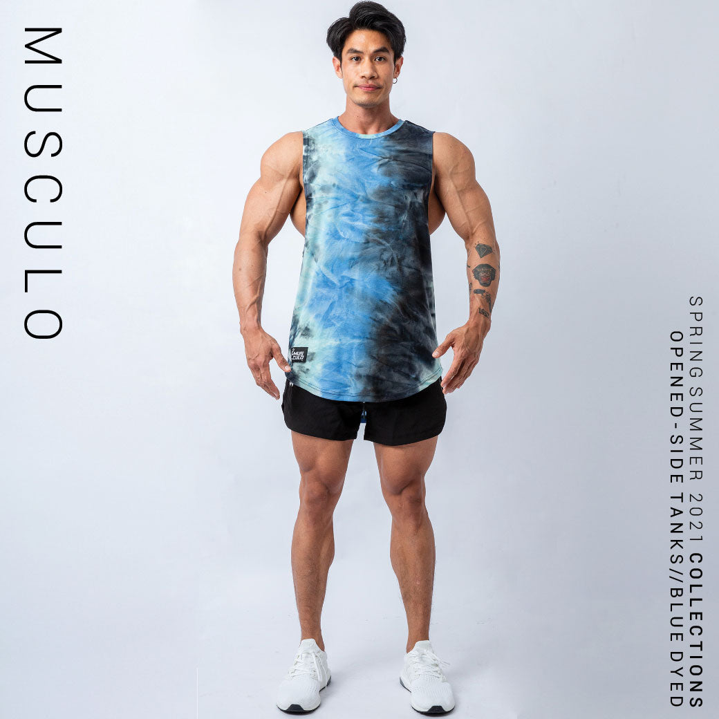 Musculo opened side gym tanks // Dyed blue