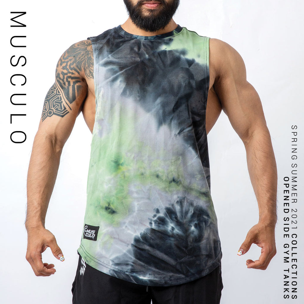 Musculo opened side gym tanks // Dyed green