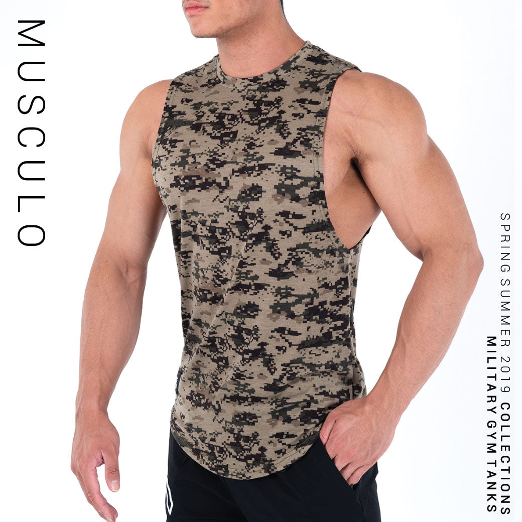 Musculo lose fit military gym tanks