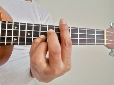 Finger position of G Chord Shape on C chord inversion