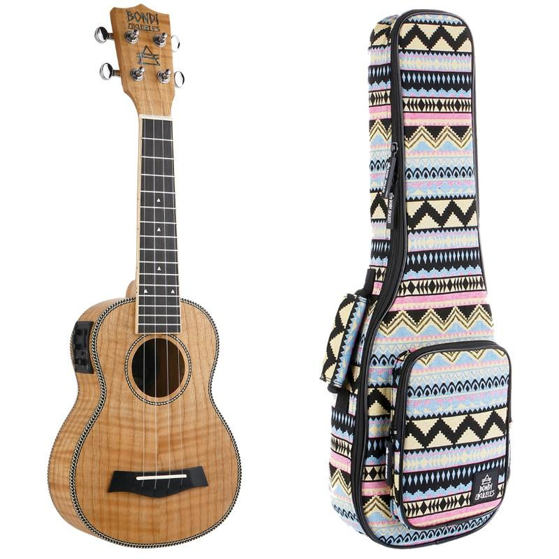 Bondi Tiger Oak Soprano Electric Ukulele Bundle