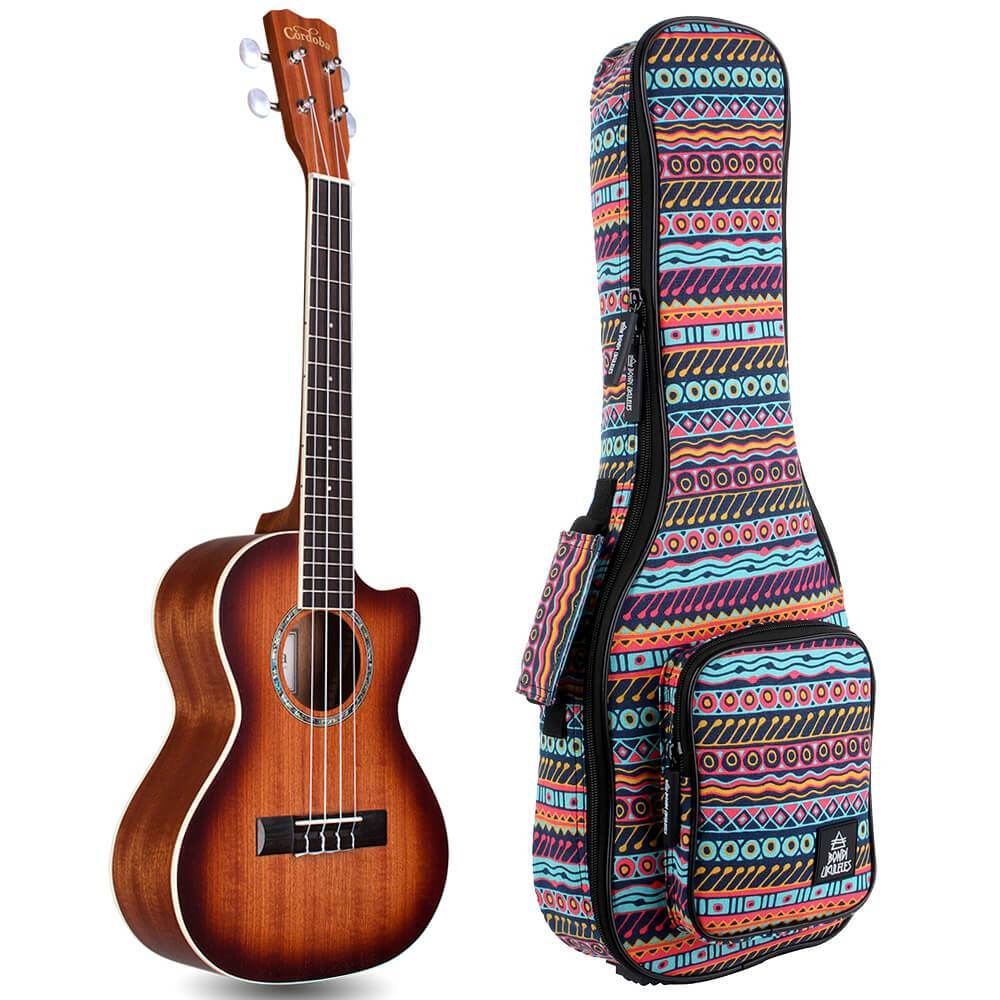 Cordoba 15 Series Tenor Cutaway Electric Mahogany Ukulele Bundle