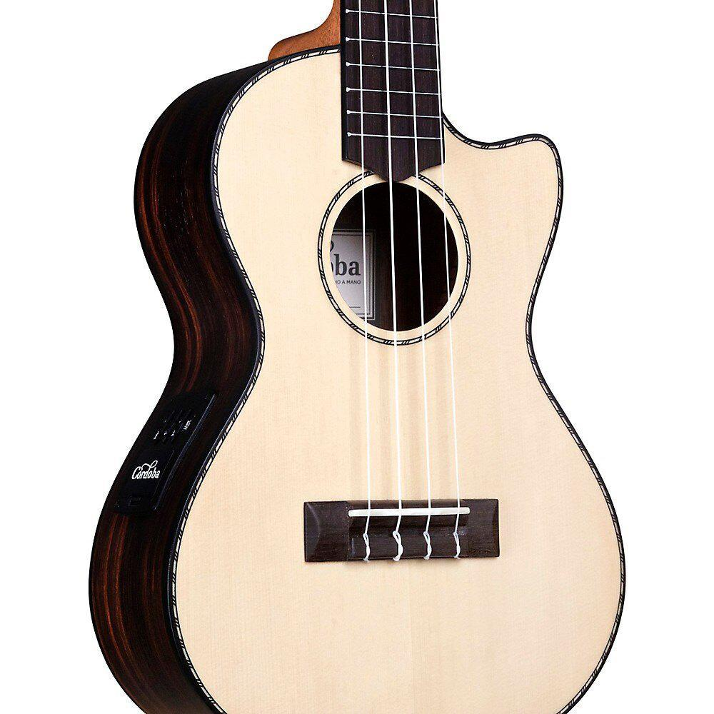 Cordoba 21T Solid Spruce Top Tenor Cutaway Electric Ukulele Bundle