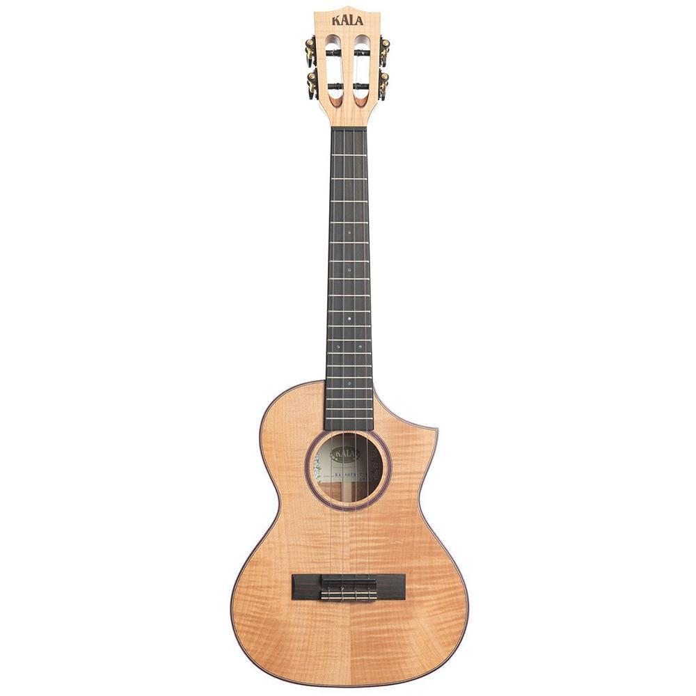 Kala Solid Flame Maple Tenor Cutaway Ukulele Bundle