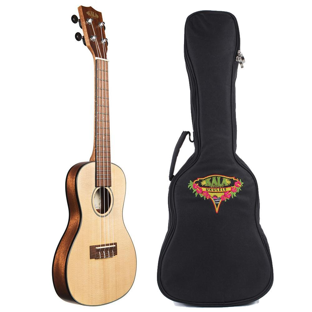 Kala Solid Spruce Travel Concert Ukulele Bundle