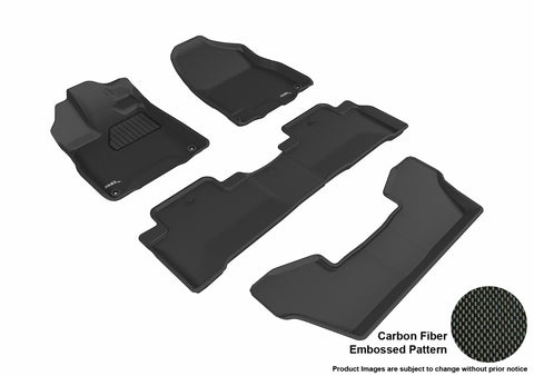 ACURA MDX WITH BUCKET 2nd Row Floor Mat 2017-2019 KAGU BLACK Complete Floor Mat Set