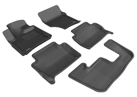 AUDI Q7 WITH BENCH 2ND ROW 2007-2015 KAGU BLACK Complete Floor Mat Set
