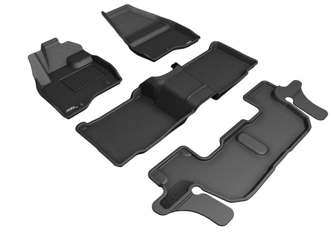 FORD EXPLORER WITH BENCH 2ND ROW 2017-2019 KAGU BLACK Complete Floor Mat Set (SINGLE POST ON FRONT PASSENGER'S FLOOR)