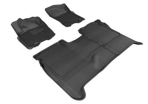 NISSAN TITAN 2009-2015 CREW CAB KAGU BLACK Front/2nd Row Floor Mat Package (WITHOUT STORAGE BOX)