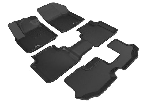 VOLKSWAGEN ATLAS WITH BENCH 2ND ROW 2018-2019 KAGU BLACK Complete Floor Mat Set