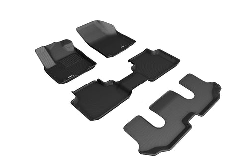 VOLKSWAGEN ATLAS WITH BUCKET 2ND ROW 2018-2019 KAGU BLACK Complete Floor Mat Set