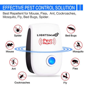 2019 [NEW UPGRADED] LIGHTSMAX - Ultrasonic Pest Repeller - Electronic Plug -In Pest Control Ultrasonic - Best Repellent for Cockroach Rodents Flies Roaches Ants Mice Spiders Fleas Indoor 6 PKS