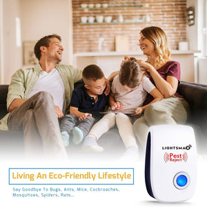 LIGHTSMAX - Ultrasonic Pest Repeller - Electronic Plug -In Pest Control Ultrasonic - Best Repellent for Cockroach Rodents Flies Roaches Ants Mice Spiders Fleas Indoor 6 PKS