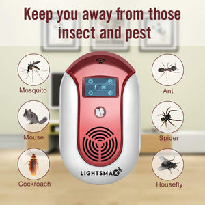 2019 [NEW UPGRADED] LIGHTSMAX - Ultrasonic Pest Repeller - Electronic Plug -In Pest Control Ultrasonic - Best Repellent for Cockroach Rodents Flies Roaches Ants Mice Spiders Fleas Indoor