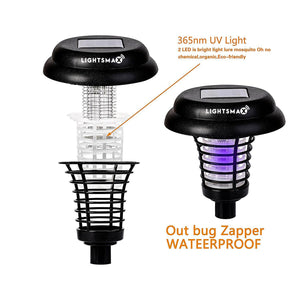 Solar Powered Light, Mosquito and Insect Bug Zapper-LED/UV Radiation Outdoor Stake Landscape Fixture for Gardens, Pathways, and Patios 4 PKS