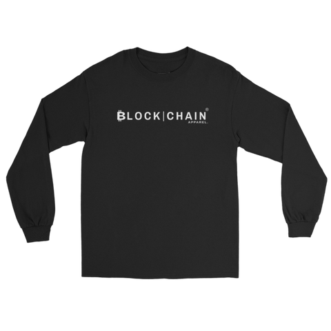 CLASSIC BLOCKCHAIN APPAREL LOGO LONG SLEEVE (CLASSIC FIT) BLACK/ WHITE