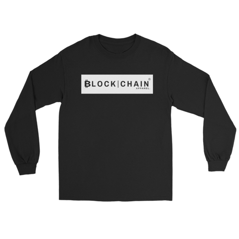 CLASSIC BLOCKCHAIN APPAREL BOLD BLOCK LONG SLEEVE (CLASSIC FIT)  BLACK/WHITE
