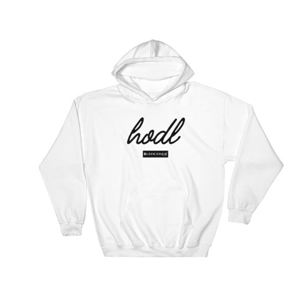 CLASSIC BLOCKCHAIN APPAREL HODL HOODIE WHITE/ BLACK