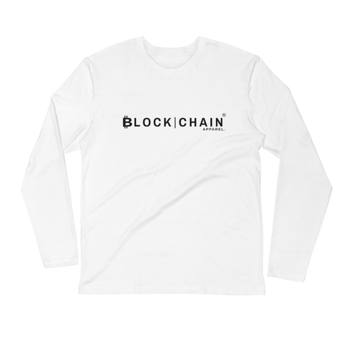 CLASSIC BLOCKCHAIN APPAREL (FITTED) LOGO LONG SLEEVE WHITE