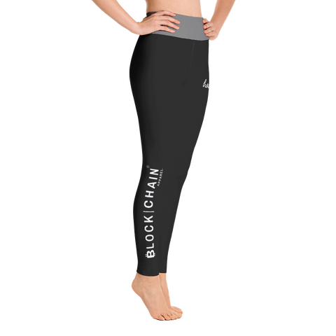 BLOCKCHAIN APPAREL LIFESTYLE (HIGH WAIST) LEGGINGS BLACK/ DARK GREY