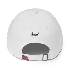CLASSIC BLOCKCHAIN APPAREL STRAP BACK HAT WHITE