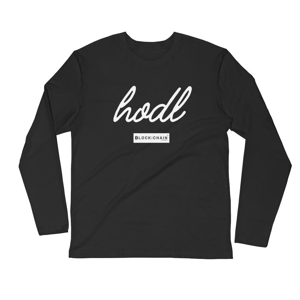 CLASSIC BLOCKCHAIN APPAREL HODL (FITTED) LONG SLEEVE BLACK/ WHITE