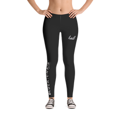 BLOCKCHAIN APPAREL LIFESTYLE LEGGINGS BLACK/ WHITE
